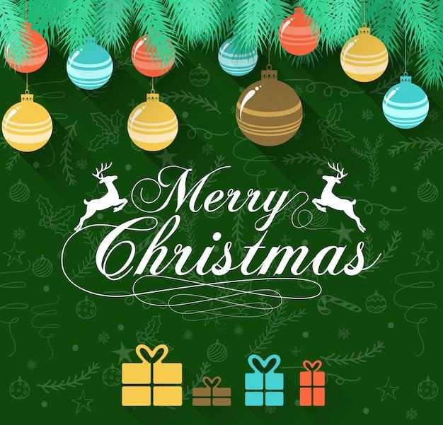 鹿とギフトと緑の背景にメリークリスマス
