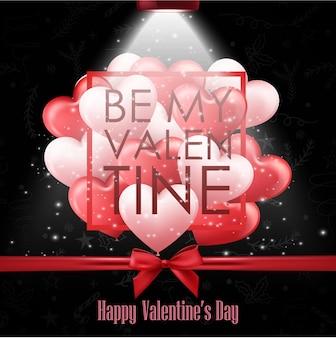 黒の背景との幸せなバレンタインデー