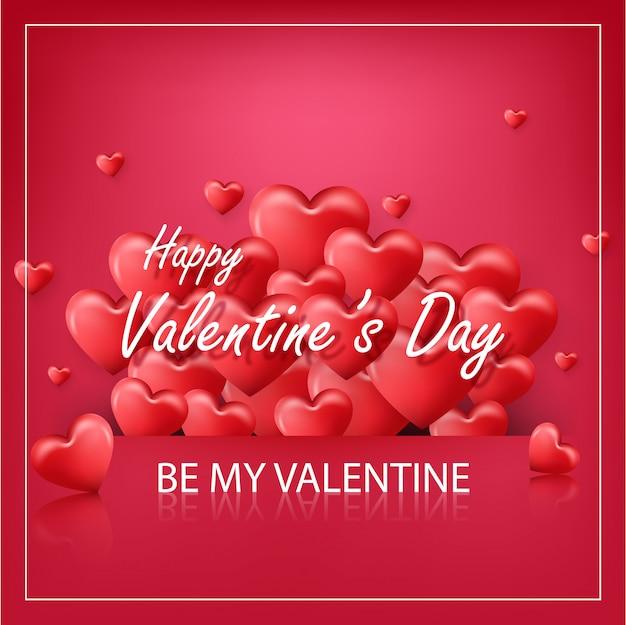 赤い風船の心と赤の背景にバレンタインの日