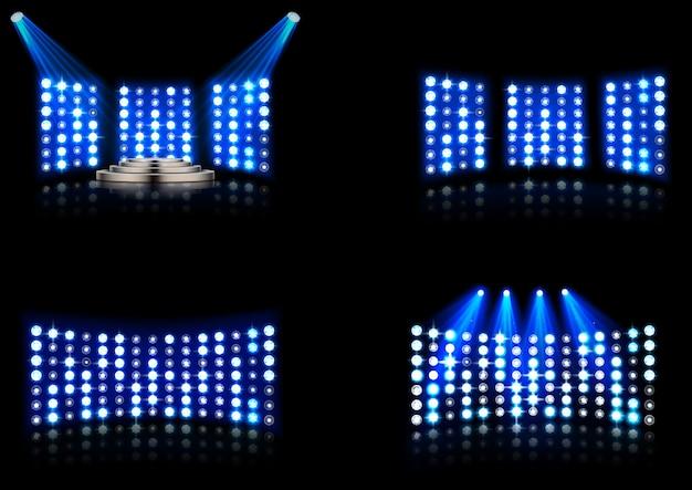 明るいスタジアムアリーナ照明スポットライトのセット
