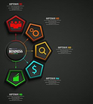情報グラフィックのビジネステンプレートのコンセプト
