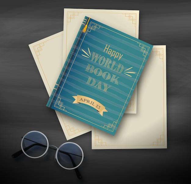 書籍、黒い背景に幸せな世界の日のスタック