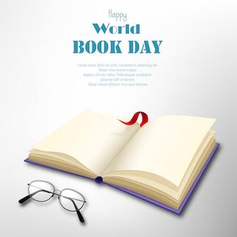 白い背景の上の空白の本で幸せな世界本日