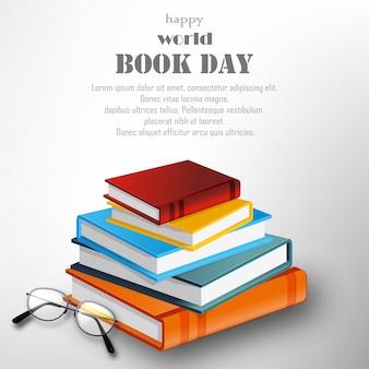 Счастливый мировой книжный день со стопкой книг на белом фоне