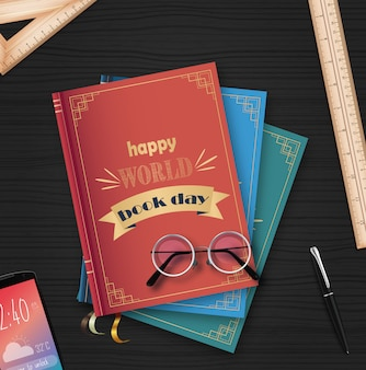 Всемирный день книги со стопкой книг