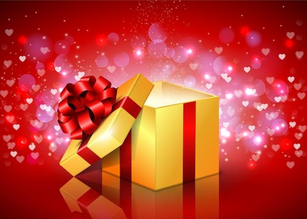 Открытая подарочная коробка с развевающимися сердцами