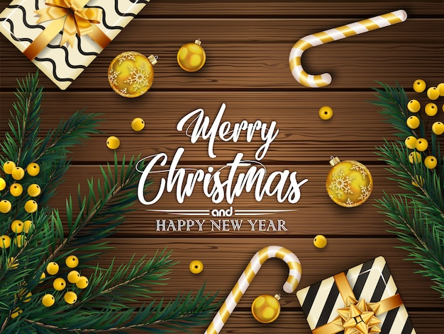 モミの木の枝とボールでクリスマスの背景