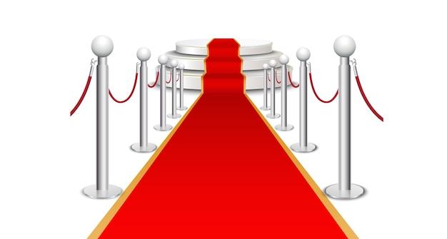 円形の階段にレッドカーペット