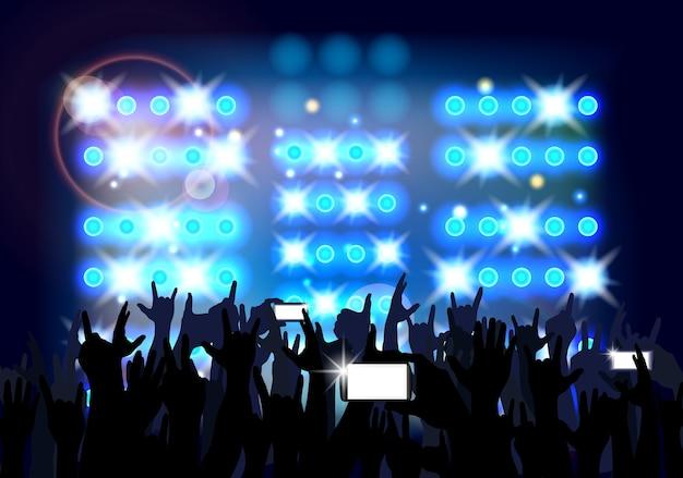 Синий фоне толпы людей партии.