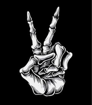 Скелет знак мира