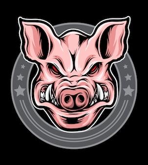 Свинья голова логотип