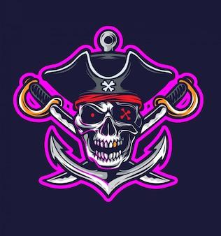 Пиратский логотип вектор