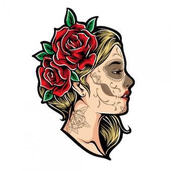 Девушка розы вектор