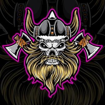 Логотип воин викингов