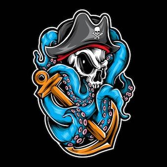 Пиратский череп осьминога