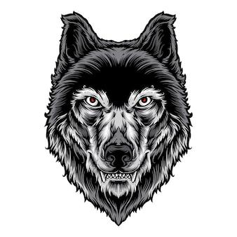 オオカミの頭のベクトルのロゴ