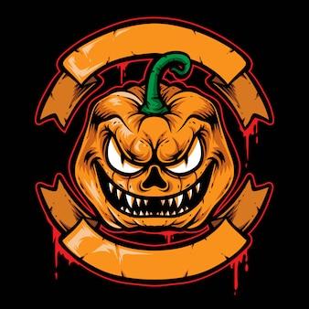 怖いカボチャバッジベクトルのロゴ