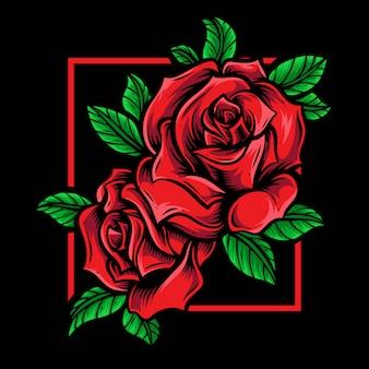 Красные розы векторный логотип орнамент