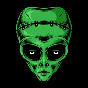 エイリアンフランケンシュタインの頭のベクトルのロゴ