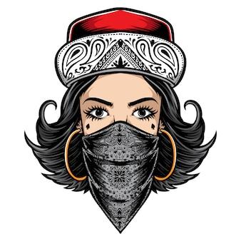 チカーノスタイルの女性のロゴ