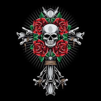 Скелетный крест с розами