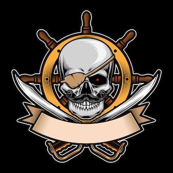 Пиратский череп с логотипом орнамента