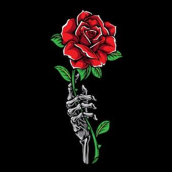 Рука скелет с розой татуировки иллюстрации