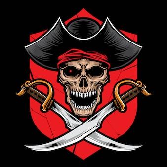 Пиратский череп с мечом вектор