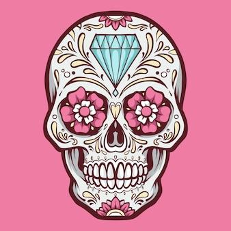 Иллюстрация розовый сахарный череп