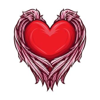 Сердце с крыльями ангела вектор