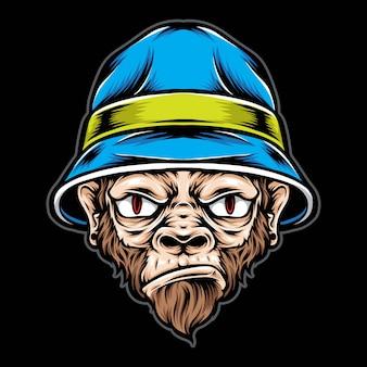 猿のバケツ帽子をかぶって