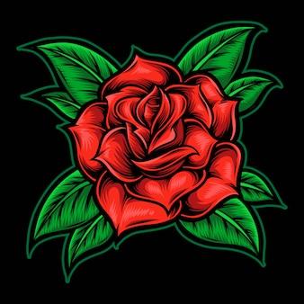 バラの花のタトゥースタイル