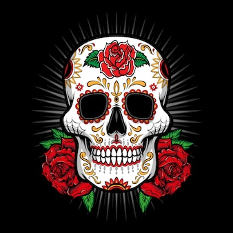 Сахарный череп с розовым логотипом