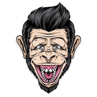 Улыбающаяся обезьяна с рокабиллиновыми волосами