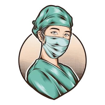 女性看護師は医療ユニフォームベクトルを着用します。