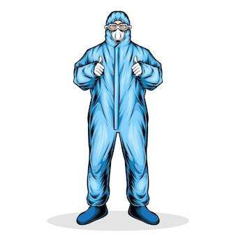 医療防護服を着た男