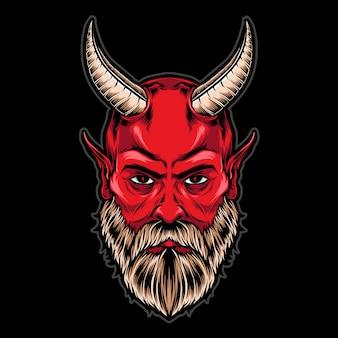 角を持つ悪魔の頭