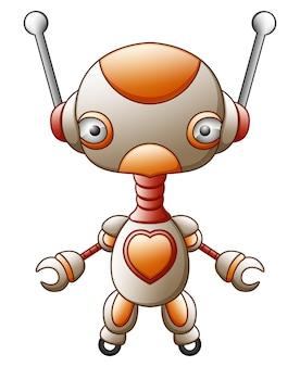 Мультфильм характер мило робот, изолированных на белом фоне