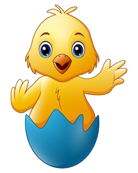青い壊れた卵殻の漫画小さな赤ちゃんの鶏