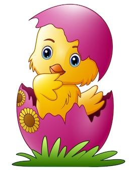かわいい小さな漫画のひよこが卵から孵化