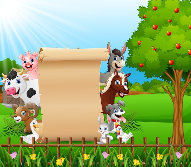幸せな動物と空白の看板