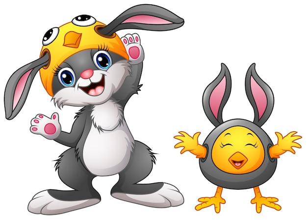 ハッピーウサギと鶏の漫画の衣装
