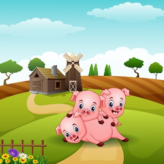 Три маленькая свинья, играющая на холмах