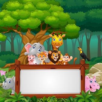 ジャングルのボードブランクサインを持つ動物
