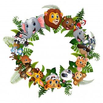 Животные мультяшный лес вместе в кругу