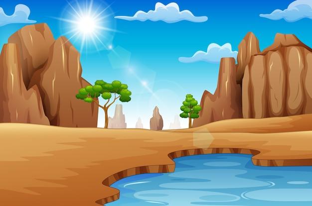 夏の荒野と昼間の湖