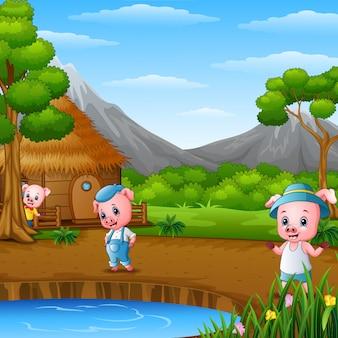 Три маленькие свиньи делают работу