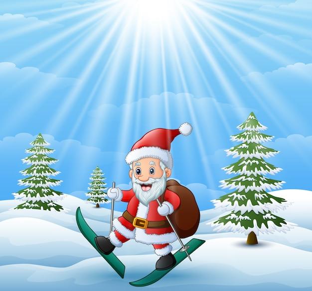 Санта-клаус катается на лыжах на снежном холме