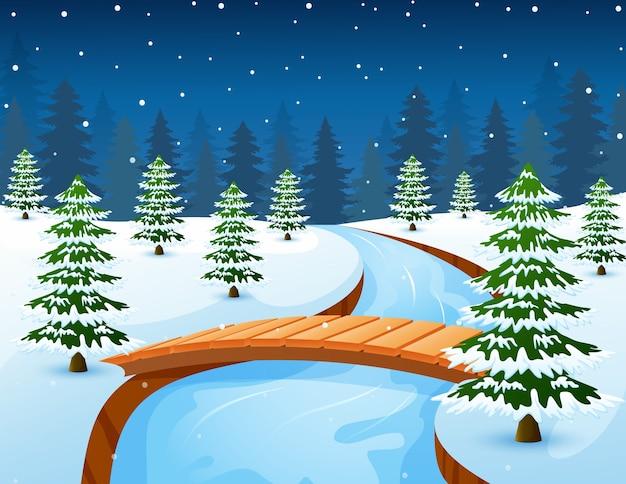 漫画の冬の風景