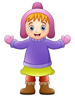 Векторная иллюстрация счастливая девушка в зимней одежде